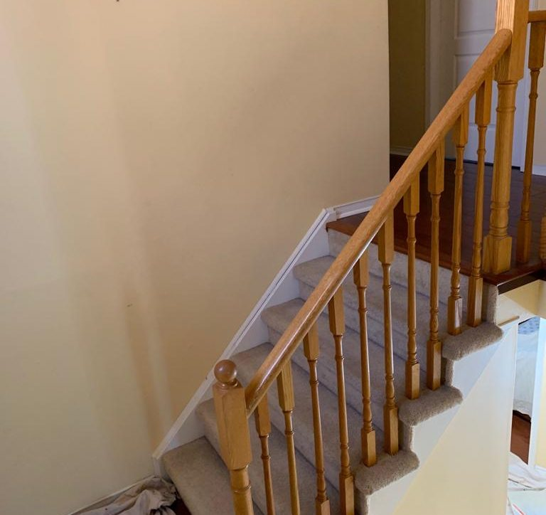 First step in staircase renovation